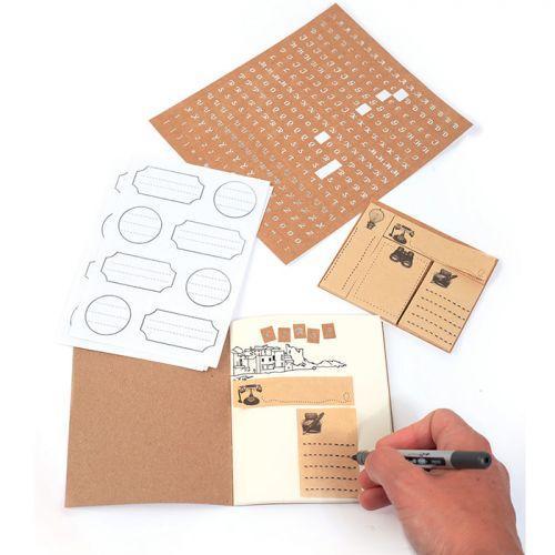 Kit papeterie avec mini carnet kraft 12 x 10 cm + 418 stickers