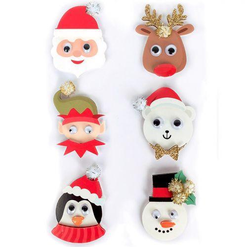 6 pegatinas de efectos 3D - Personajes de Navidad