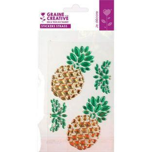 4 stickers strass 15 x 9,5 cm - Ananas