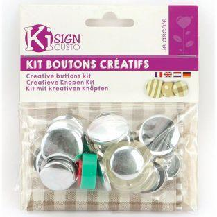 Kit 12 metal buttons to decorate 2.2 & 2.8 cm + fabric beige