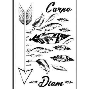 Transfert thermocollant noir & blanc A4 - Carpe diem