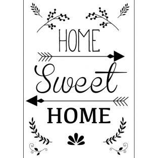 Transfert thermocollant noir & blanc A4 - Home Sweet Home