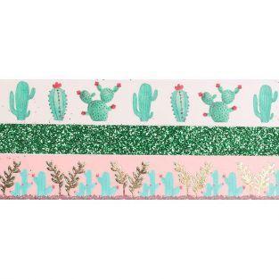 3 glitter tapes - 2 x 5 m et 1 x 2 m - Cactus