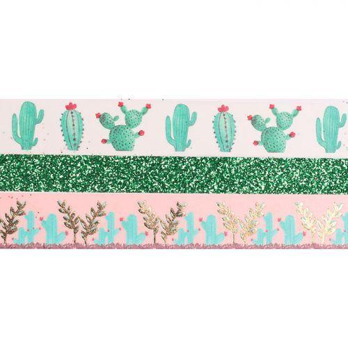 3 Masking tapes con brillo - 2 x 5 m y 1 x 2 m - Cactus
