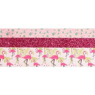 3 glitter tapes - 2 x 5 m et 1 x 2 m - Flamant rose