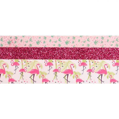 3 glitter tapes - 2 x 5 m & 1 x 2 m - Flamingo