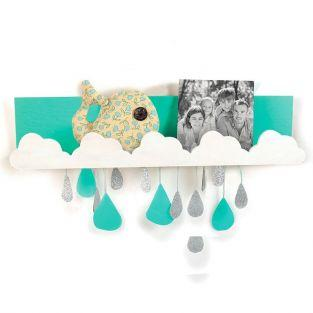 Wooden wall shelf 42 x 9 cm - Clouds