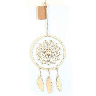 Suspension attrape-rêves en bois 41 x 16 cm - Mandala