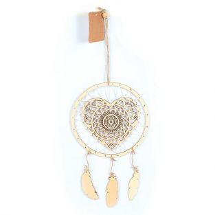 Wooden dreamcatcher suspension 41 x 16 cm - Heart