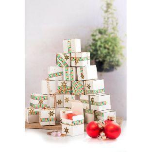 Calendario de Adviento 24 cubos de papel para decorar