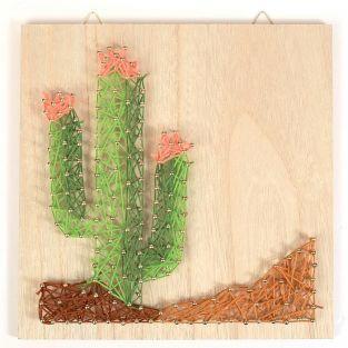 Coffret cadre en bois String Art 22 x 22 cm - Cactus