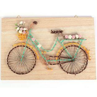 Coffret cadre en bois String Art 30 x 20 cm - Bicyclette