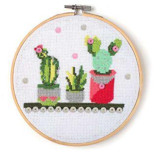 Coffret mon cercle en bois à broder Ø 15,5 cm - Cactus