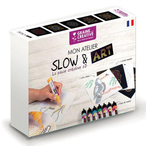 Slow Art coloring box - 8 markers + 10 Mandala & animals cards