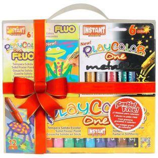 Coffret 24 stylos gouache solide Playcolor Basic-Metal-Fluo + 3 gravures à colorier