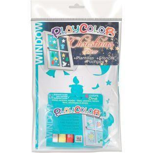 Cuadro 6 gouaches macizos + plantillas Playcolor Window para pintar sobre vidrio