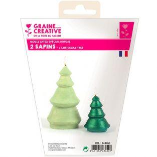 2 latex candle molds - Fir trees
