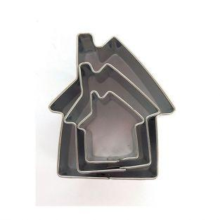 3 mini stainless steel cookie cutters - Houses