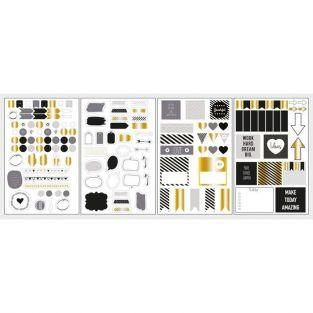 147 Pegatinas Bubble & Arrow para Bullet Journal - Negro-Gris-Dorado