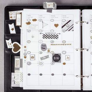 420 stickers dates pour Bullet journal - noir-gris-doré