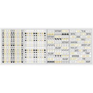 433 stickers icônes & mots pour Bullet journal - noir-gris-doré