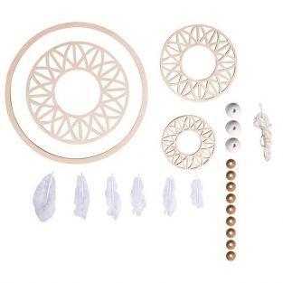 Kit attrape rêves grand format 74 cm - Disque bois ø 18 cm, perles, ficelle, plumes