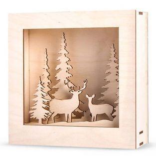 Cuadro de madera bosque de Navidad 20 x 20 cm
