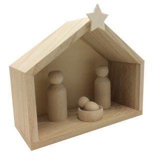 Cuna de madera 18 x 8 x 15 cm + piezas