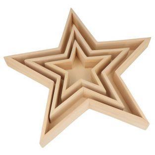 3 plateaux en bois étoiles 35 x 32,5 x 4 cm