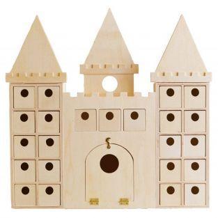 Calendario de Adviento Castillo de madera para decorar 42 x 42 cm