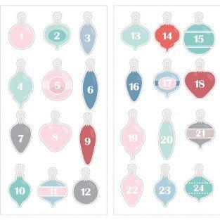 24 Stickers puffies chiffres boules de Noël