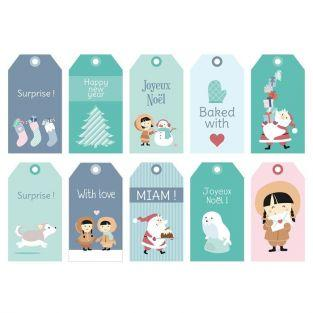 Set stickers, labels, envelopes for Christmas gifts - My little Christmas