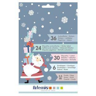 Set pegatinas, etiquetas, sobres para regalos de Navidad - Mi pequeña Navidad