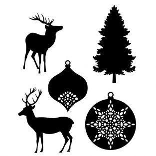 Troqueles de corte - Ciervos y bolas de Navidad