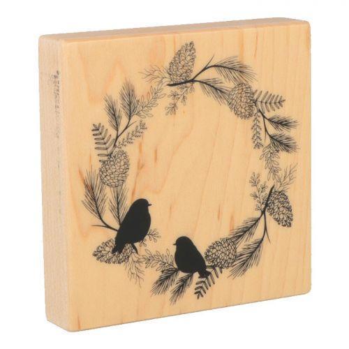 Tampon bois Oiseaux & Couronne végétale - 10 x 10 cm