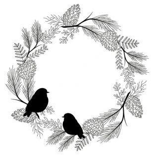 Sello de madera 10 x 10 cm - pájaros y corona vegetal