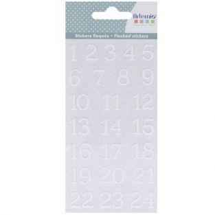 24 stickers floqués Chiffres - Misty Winter