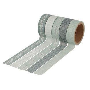 5 washi tapes 5 m x 1,5 cm - Invierno Brumoso