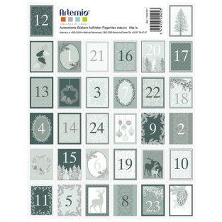Pegatinas sellos cifras para Calendario de Adviento - Invierno Brumoso