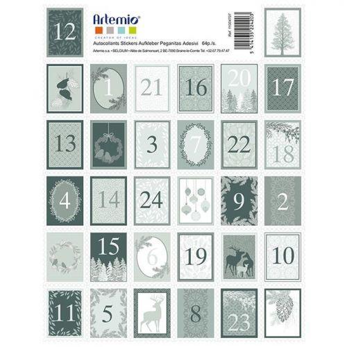 Adviento Calendario.Pegatinas Sellos Cifras Para Calendario De Adviento Invierno Brumoso