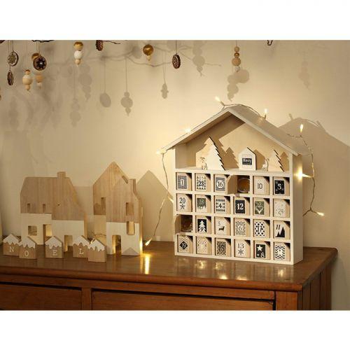 Calendrier de l'Avent en bois Maison 31,5 x 7 x 34 cm
