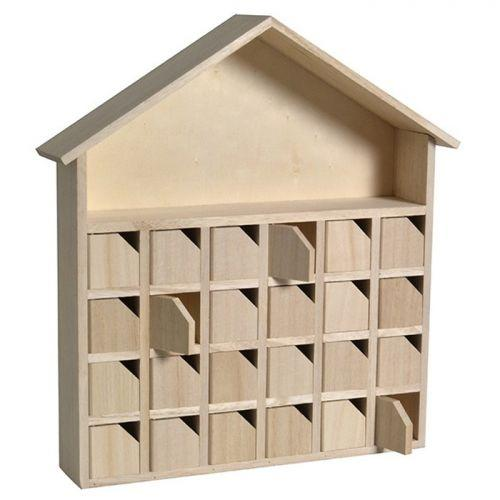 Calendario de Adviento de madera Casa 31.5 x 7 x 34 cm
