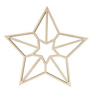 Silueta de madera origami - estrella de 5 puntas