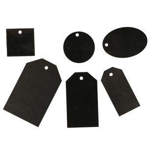 36 étiquettes en bois noires