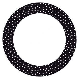 12 circle stickers Ø 6.3 cm - black with white dots