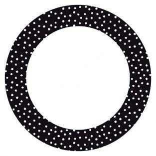 12 stickers cercle Ø 6,3 cm - Noir à pois blancs