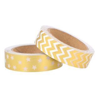 2 masking tapes 5 m x 1,5 cm - Motifs dorés et blancs