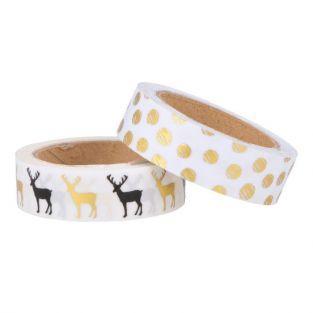 2 washi tapes 5 m x 1,5 cm - Golden Deer