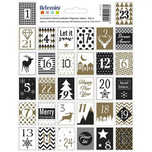 Timbres autocollants chiffres pour Calendrier de l'Avent - Golden Deer