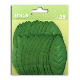 25 dark green paper tree leaves - 3.5 x 7.9 cm